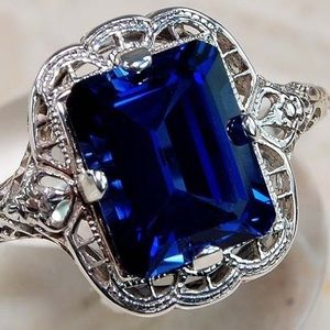 925 Sterling Silver & Sapphire Ring Size 7